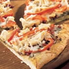 Chicken Pesto Pizza with Roasted Red Peppers and Asparagus Recipe