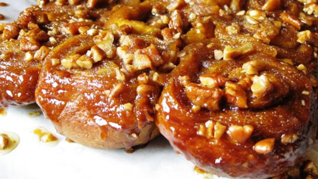 Sticky Buns made with Pumpkin Brioche