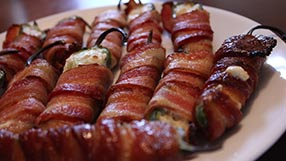 Grilled Bacon Jalapeno Wraps poppers Super Bowl appetizer tailgating