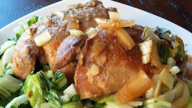 Slow Cooker Adobo Chicken with Bok Choy