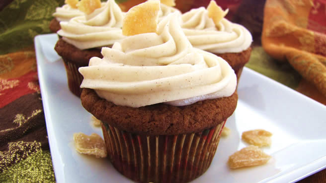 Pumpkin Ginger Cupcakes, with Allspice Cream Cheese Frosting