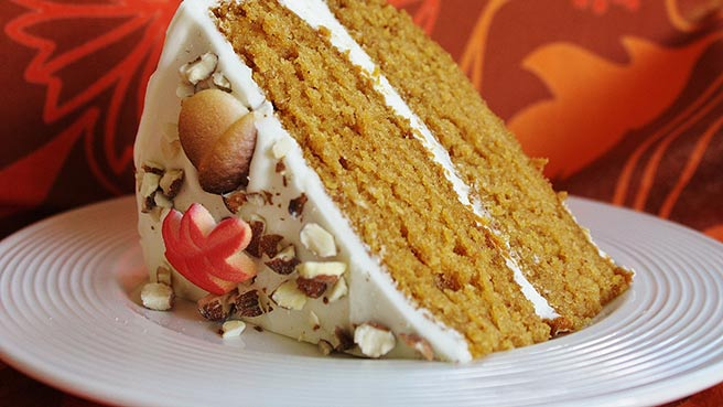Pumpkin Sheet Cake, with Bourbon Cream Cheese Frosting