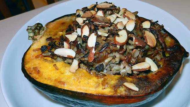 Harvest Rice Dish (made vegetarian and baked in acorn squash)