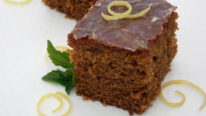 Gingerbread Cake with Lemon Glaze