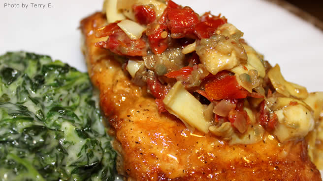 Mahi Mahi with Artichokes and Sun-Dried Tomatoes