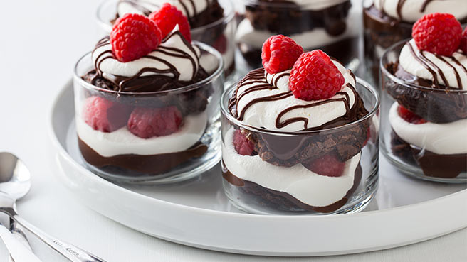 Chocolate Raspberry Brownie Trifles