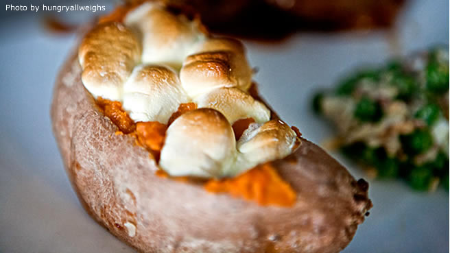 Twice-Baked Sweet Potatoes With Mini Marshmallows