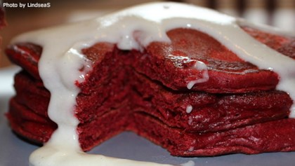 red velvet pancakes with glaze - Valentines Breakfast Recipes
