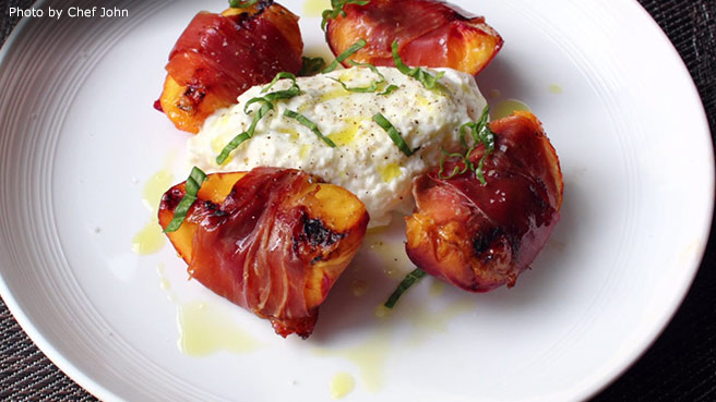 Grilled Prosciutto-Wrapped Peaches