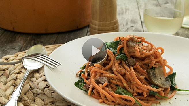 Spiralized Sweet Potato Carbonara