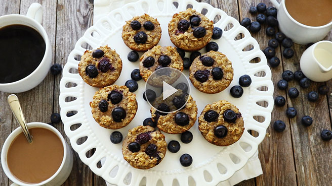 Muffin Tin Blueberry Oatmeal Cakes