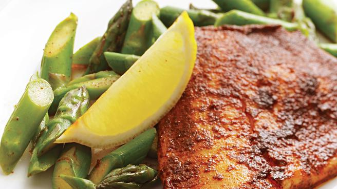 Chili Rubbed Tilapia with Asparagus