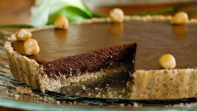 Chocolate Tart with Hazelnut Shortbread