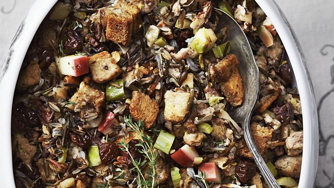 Wild Rice Stuffing with Apple & Sausage
