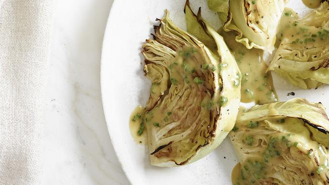 Roasted Cabbage with Vinaigrette