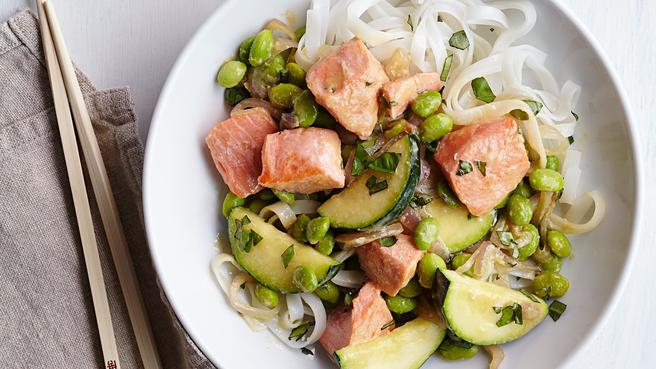 Edamame Salmon Stir Fry With Miso  C B Healthy Chinese Recipes