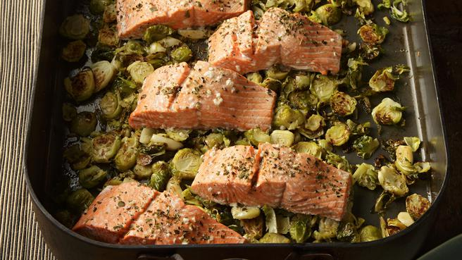 Garlic Roasted Salmon & Brussels Sprouts
