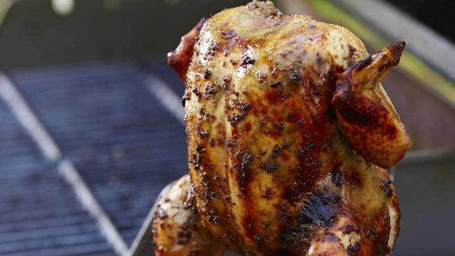 Vertically Grilled Whole Chicken