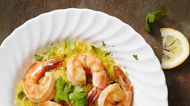 High protein low carb recipes eatingwell garlic shrimp with spaghetti squash forumfinder Gallery
