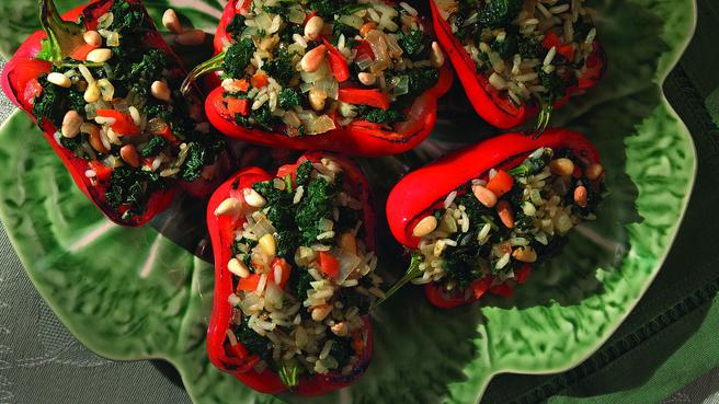 Low cholesterol dinner recipes eatingwell roasted red peppers stuffed with kale forumfinder Images