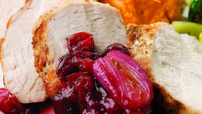 Turkey Tenderloin with Cranberry-Shallot