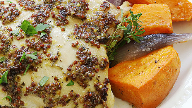 One Pan Roasted Chicken & Sweet Potatoes