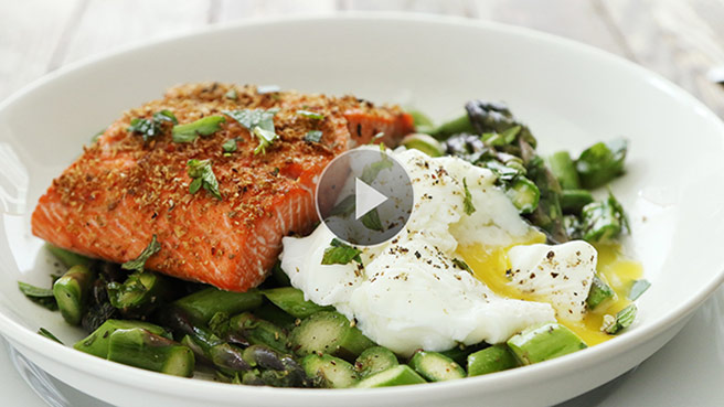 Salmon with Asparagus & Poached Egg