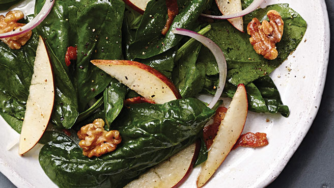 Spinach Salad with Maple-Bacon Dressing