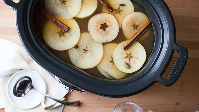 Slow-Cooker Hot Cider with Apple Brandy