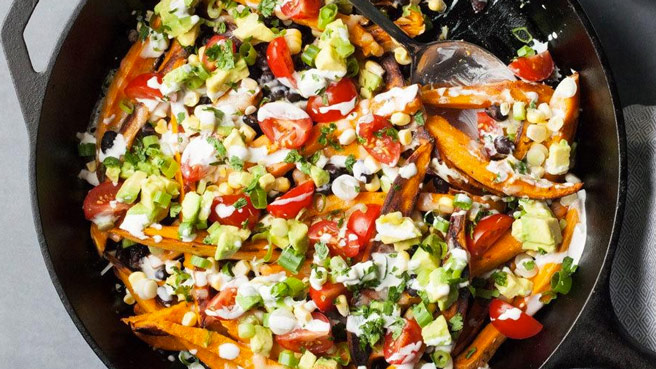 Kid friendly vegetarian dinner recipes eatingwell loaded sweet potato nacho fries forumfinder Images