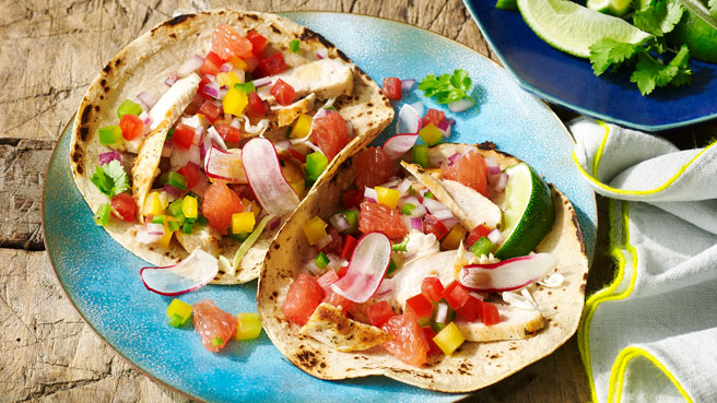 Chicken Fajitas with Grapefruit Salsa