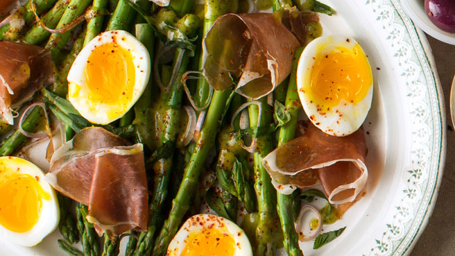 Asparagus Salad with Eggs & Cured Ham
