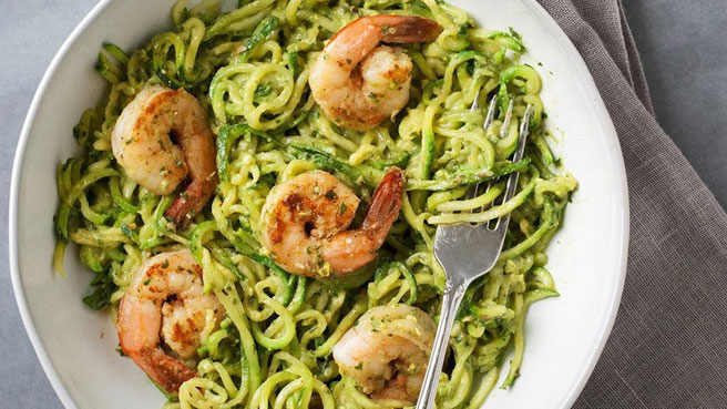 Healthy low calorie recipes eatingwell zucchini noodles with pesto shrimps forumfinder Images