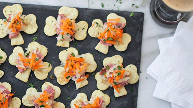 Corned Beef & Cabbage Shamrock Tostadas