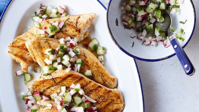 Chicken with Cucumber-Radish Salsa