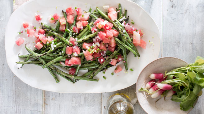 Green Beans with Watermelon-Radish Salsa