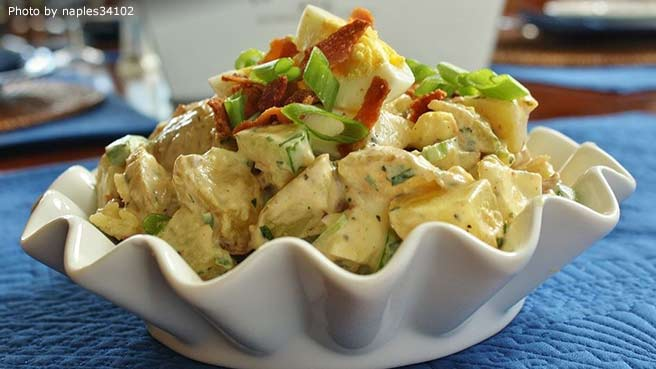 English Pub Potato Salad With Cucumber and Bacon