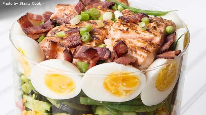 Layered Salmon Cobb Salad