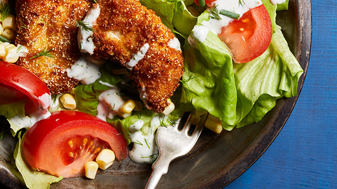 Fried Chicken Salad with Buttermilk Dres