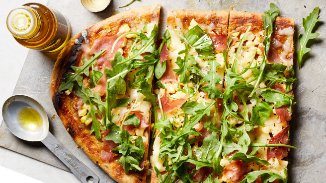 Healthy italian recipes eatingwell grilled pizza with prosciutto basil forumfinder Images
