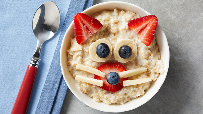 Healthy kids breakfast recipes eatingwell kitty cat oatmeal bowl forumfinder Choice Image