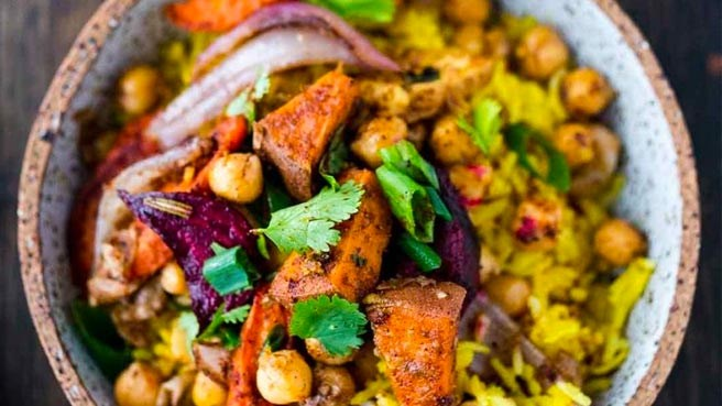 Turmeric Rice Bowl with Root Vegetables