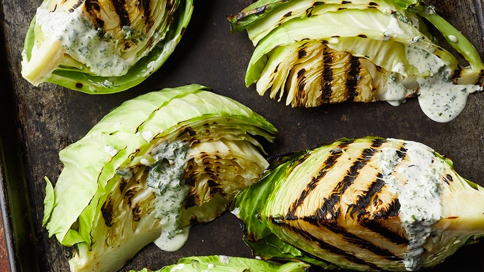 Grilled Cabbage with Buttermilk Dressing