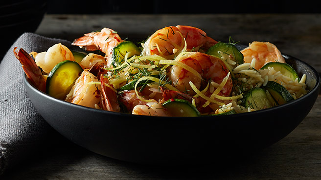 Lemon-Garlic Shrimp with Orzo & Zucchini