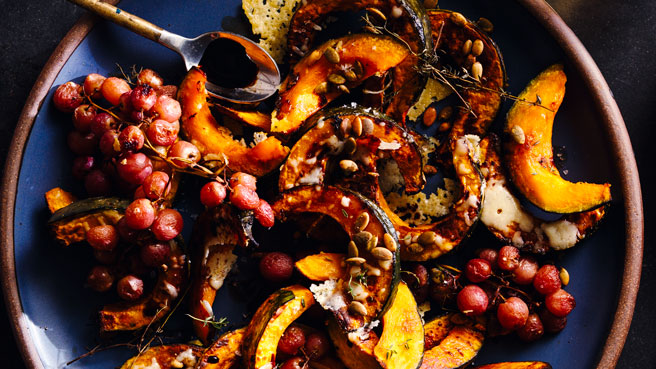 roasted kabocha squash grapes
