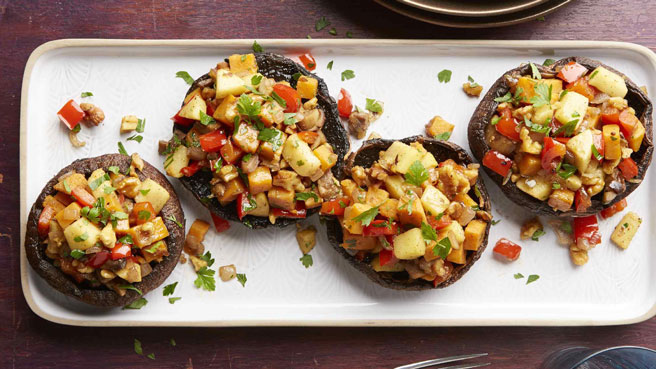 Sweet Potato Hash Stuffed Portobello Mus