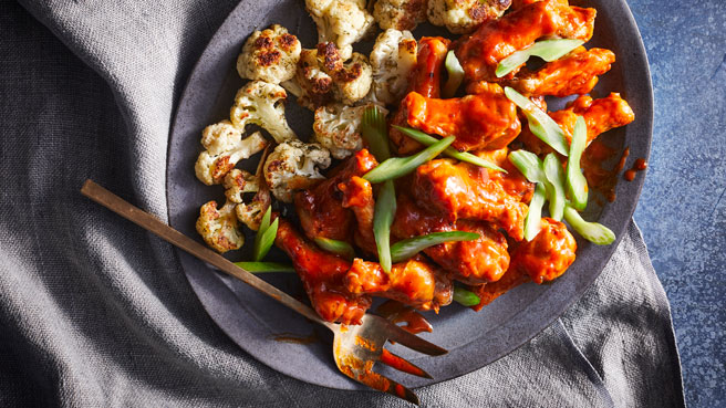 Buffalo Wings with Ranchy Cauliflower