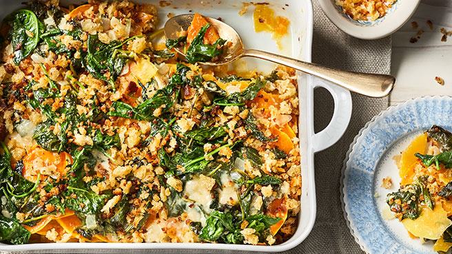 Kale-Butternut Squash Gratin