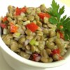 Mediterranean Style Roasted Red Pepper and Lentil Salad Recipe - French green lentils are tossed with diced vegetables and a tangy homemade vinaigrette in this lovely summer salad.
