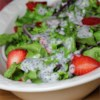 Strawberry Romaine Salad I Recipe - For my wedding shower everyone brought a few recipes and this is one of my favorites. It is refreshing and pretty. This salad also travels well, just save the dressing and use it just before serving.